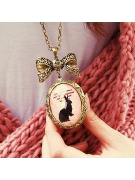 trendy Elegant Alloy Bowknot Shape Bunny Pattern Oval-Shaped Rhinestone Embellished Women's Necklace - COLORMIX