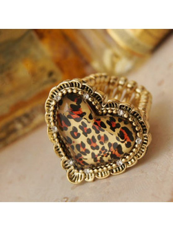 fancy Retro Style and Stylish Leopard Heart Shape Finger Ring - LEOPARD