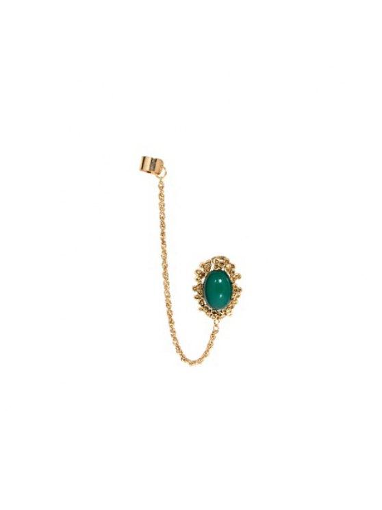 latest Exquisite Gemstone Embellished Fringe Long Alloy Tassels Earring - GREEN