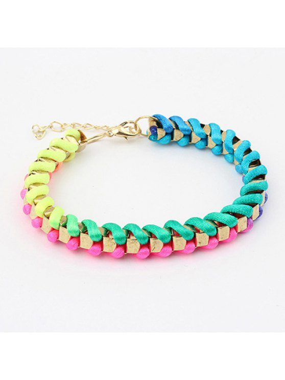 new Chic Style Tassel Embellished Women's Rope Knitted Alloy Friendship Bracelets - COLORMIX