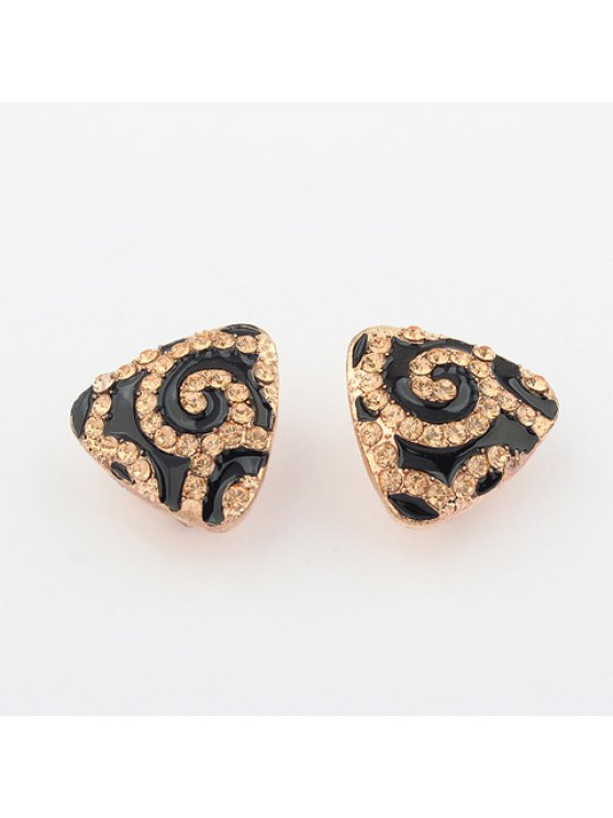 online Pair of Chic Brilliant Rhinestoned Color Glazed Triangle Ear Clips - AS THE PICTURE