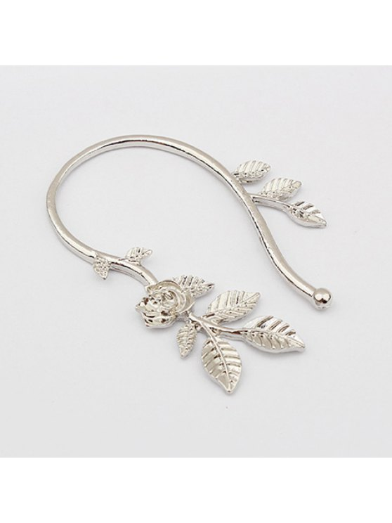trendy A Piece of Simple Rose and Leaf Embellished Earring - SILVER