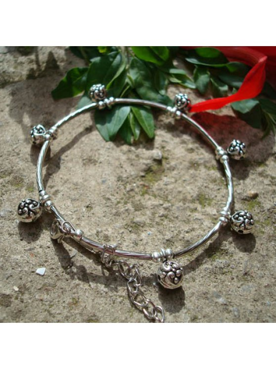 fancy Retro Style Embellished Flower Pendant Tibetan Silver Anklet For Women - SILVER