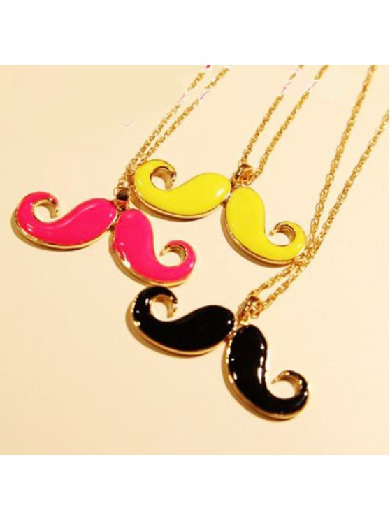 unique Cute Vivid Colored Solid Moustache Shaped Pendant Alloy Sweater Chain Necklace For Women - COLOR ASSORTED