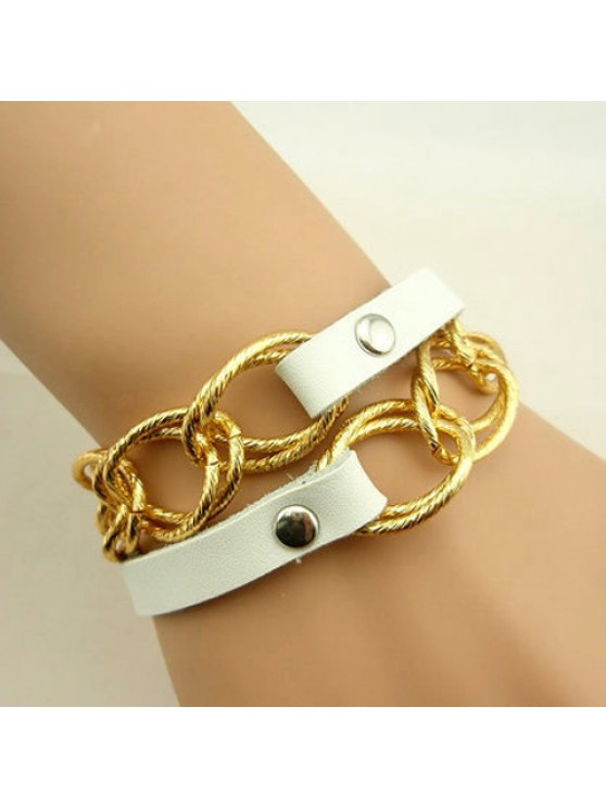 latest Characteristic Faux Leather and Alloy Design Multi-Layered Bracelet - WHITE