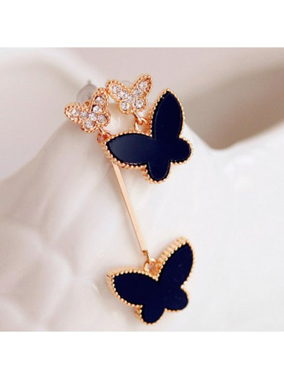 buy Pair of Simple Colored Butterfly Pendant Earrings For Women - BLACK