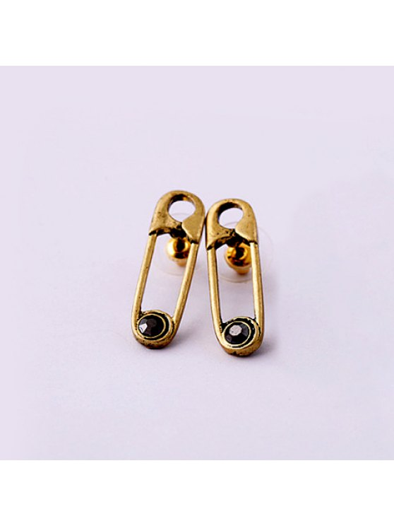 affordable Vintage Rhinestoned Clip Shape Earrings For Women - GOLD