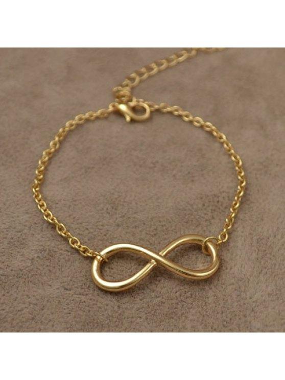 chic Simple Colored Number 8 Embellished Charm Bracelet For Women - GOLDEN