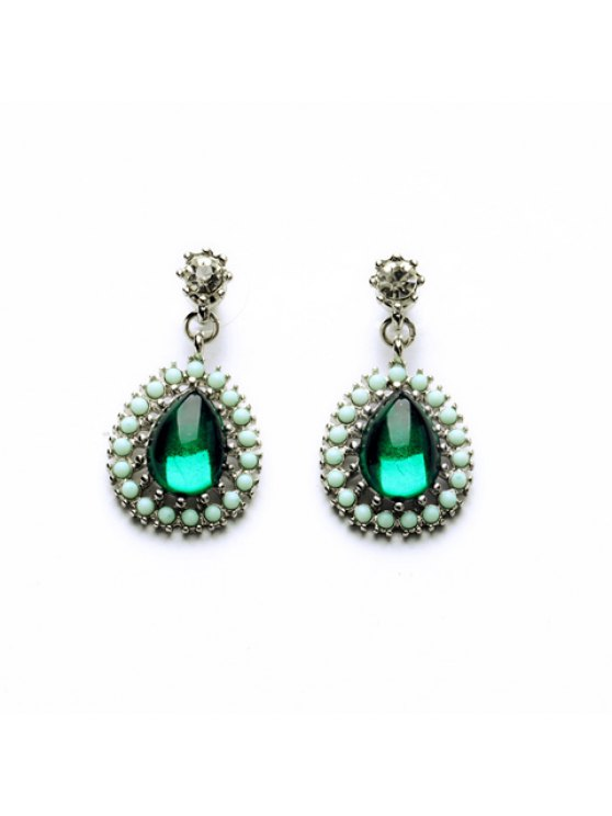 sale Pair of Chic Colored Beaded Transparent Faux Gem Pendant Earrings For Women - GREEN
