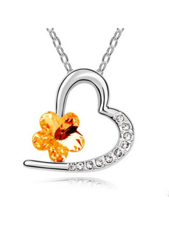 best Rhinestoned Flower Decorated Heart Pendant Necklace - COLOR ASSORTED