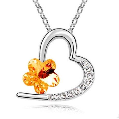 Rhinestoned Flower Decorated Heart Pendant Necklace
