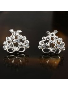 Pair of Chic Solid Color Rhinestone Bowknot Earrings For Women