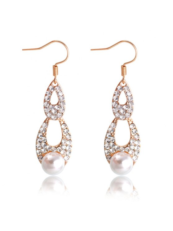 womens Pair of Brilliant Faux Pearl Decorated Water Drop Shape Diamante Openwork Pendant Earrings For Women - AS THE PICTURE