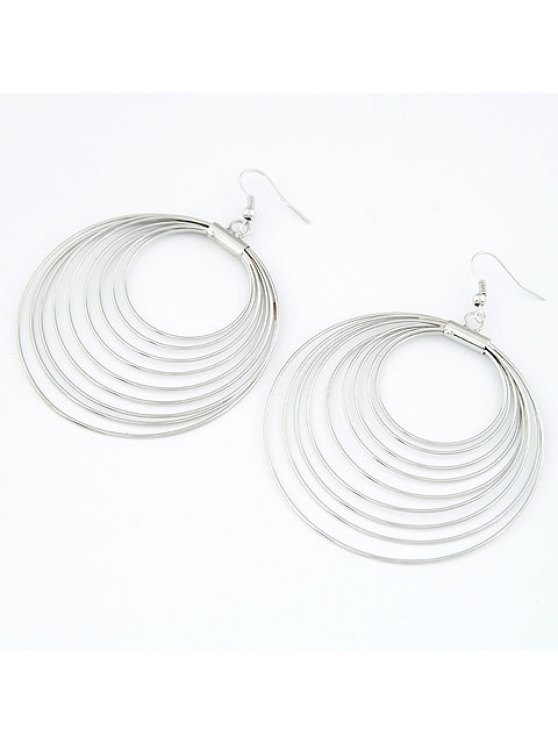 womens Pair of Delicate Multi-Layered Round Pendant Earrings For Women - SILVER