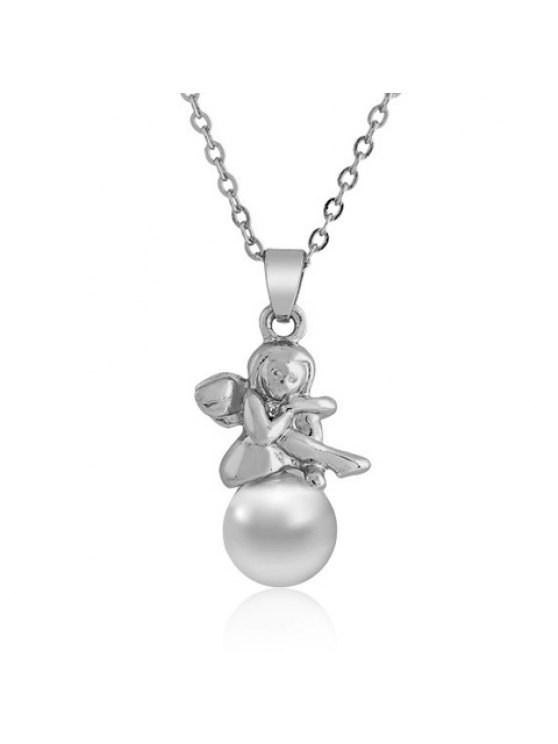 latest Delicate Pearl Angel Pendant Necklace For Women - WHITE GOLDEN