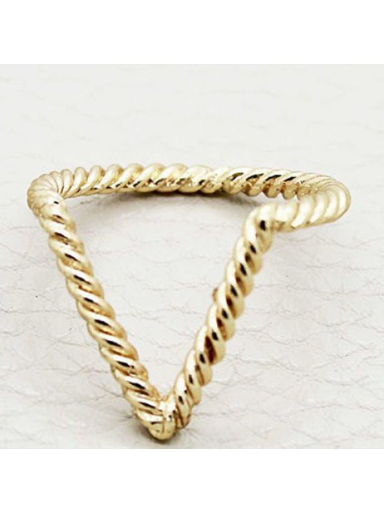 chic Vintage V-Shaped Simple Design Ring For Women - RANDOM COLOR PATTERN ONE-SIZE