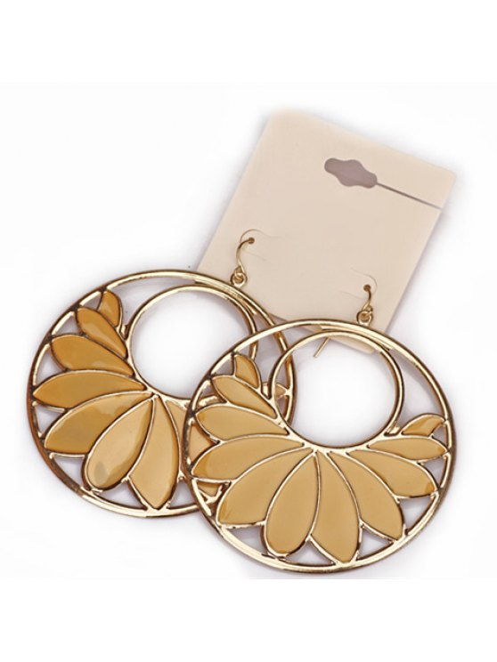 new Pair of Cute Solid Color Openwork Round Leaf Earrings For Women - AS THE PICTURE