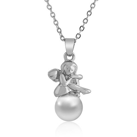 Pearl Angel Pendant Necklace For Women