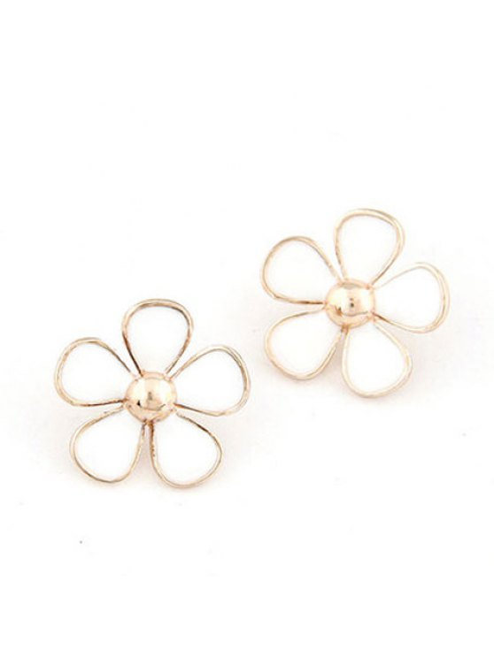 shop Pair of Cute Color Glazed Floral Earrings For Women - WHITE