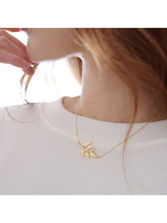 shop Exquisite Small Leaf Shaped Pendant Necklace For Women - GOLDEN