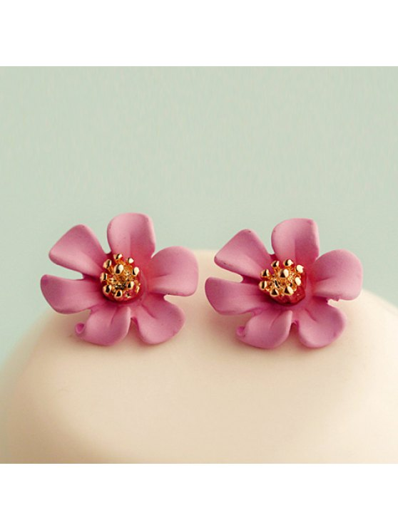 fashion Pair of Cute Colored Flower Earrings For Women - ROSE MADDER