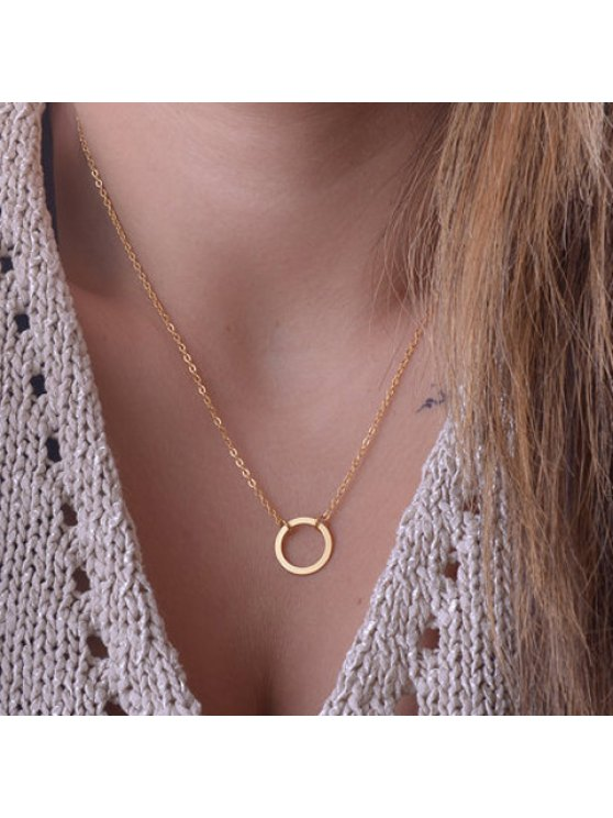 hot Chic Solid Color Round Shape Pendant Necklace For Women - COLOR ASSORTED