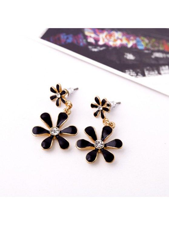 women Pair of Delicate Women's Rhinestone Flower Pendant Earrings - BLACK