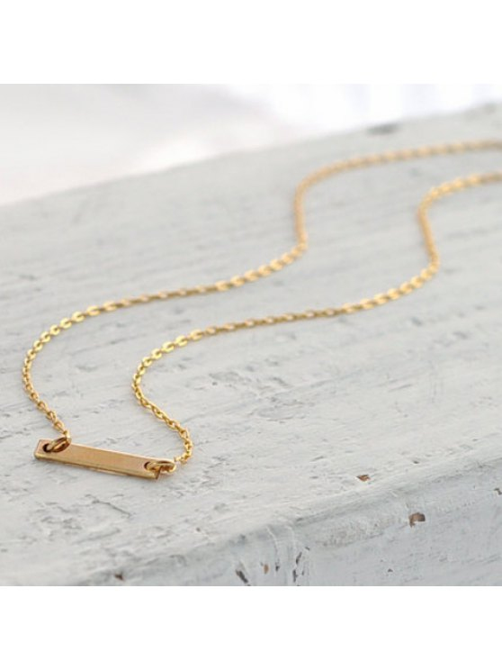 women's Stylish Women's Rectangle Stick Pendant Necklace - GOLDEN