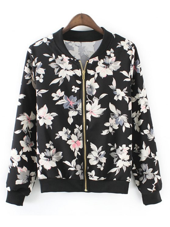 affordable Fashionable Long Sleeve Stand Collar Full Floral Print Women's Jacket - WHITE AND BLACK ONE SIZE