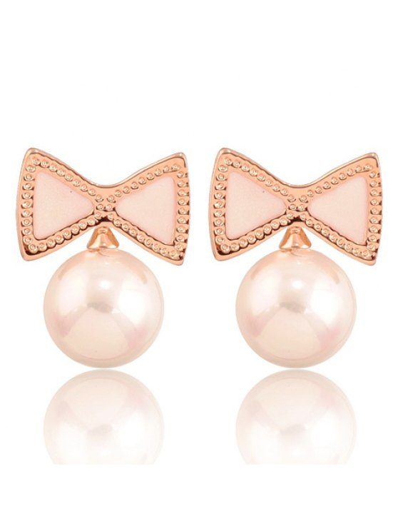new Pair of Cute Beads Pearl Decorated Women's Bowknot Earrings - WHITE