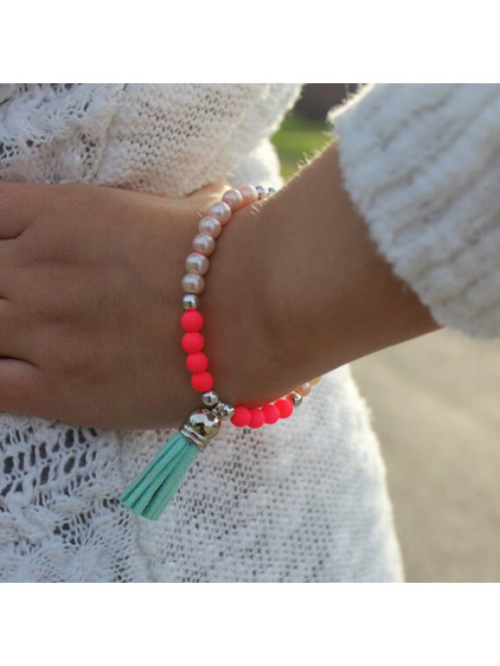 shops Chic Pearl and Tassel Embellished Bracelet For Women - AS THE PICTURE