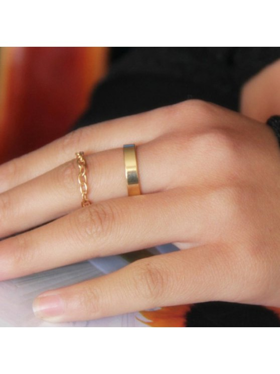 outfits 2PCS Stylish Solid Color Women's Rings - GOLDEN