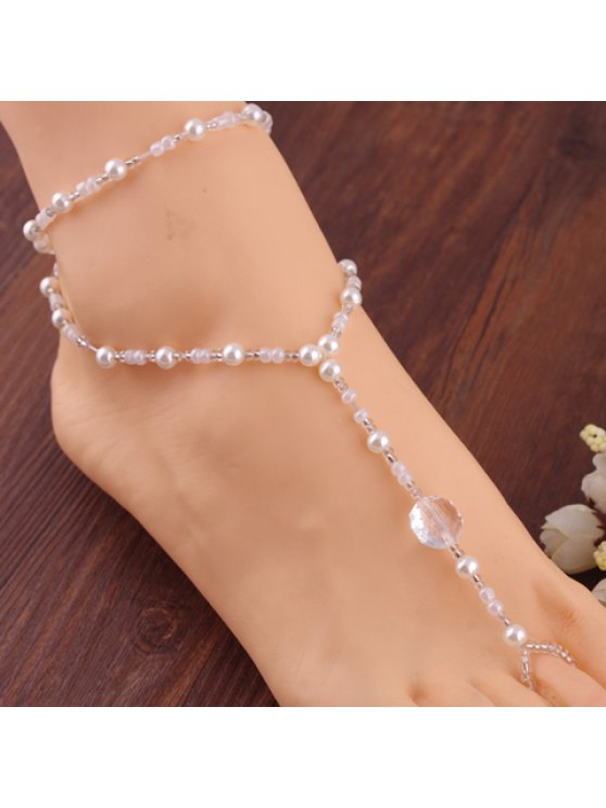 online Stylish Beads Embellished Anklet For Women - WHITE