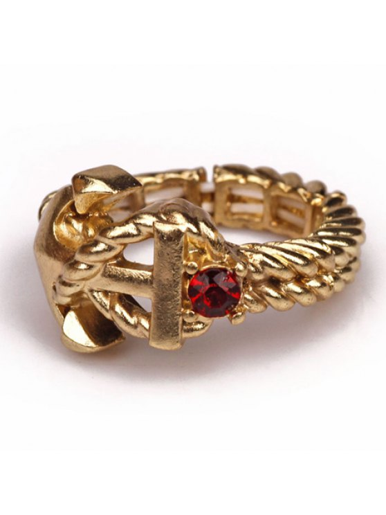 online Trendy Women's Gemstone Embellished Ring - RED