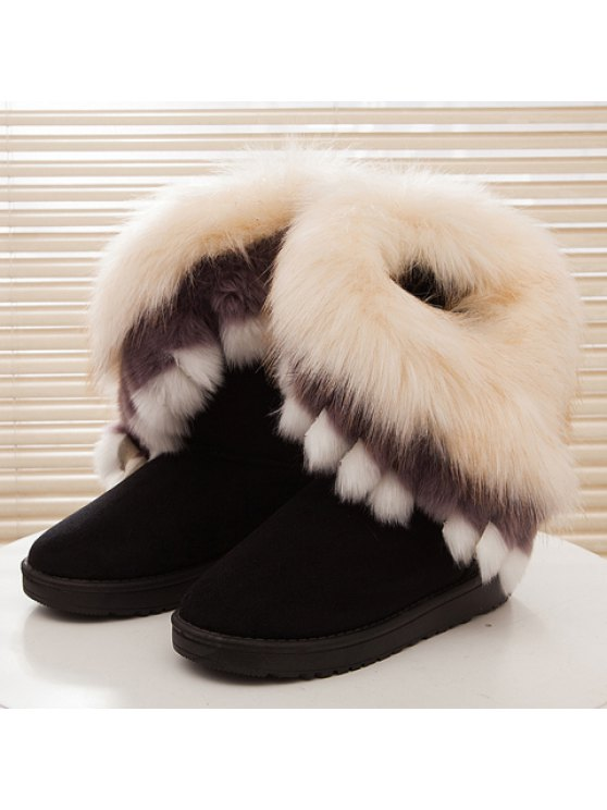 Faux Fur Snow Boots - BLACK 37 Mobile