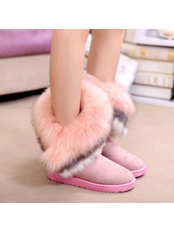 Faux Fur Snow Boots - PINK 38 Mobile