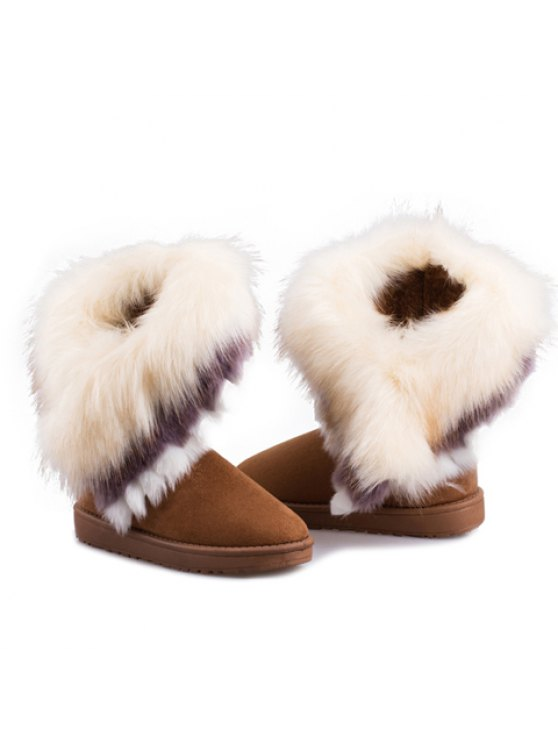 Faux Fur Snow Boots - YELLOW 40 Mobile
