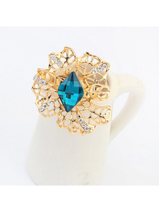 fancy Glamourous Women's Solid Color Faux Gem Embellished Flower Shape Openwork Ring - BLUE ONE-SIZE