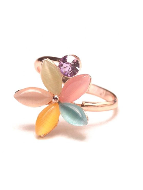 hot Glamourous Women's Faux Gem Embellished Flower Shape Ring - COLORFUL ONE-SIZE