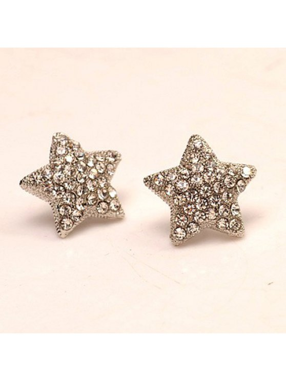 fancy Pair of Women's Attractive Rhinestone Embellished Star Shape Earrings - COLORMIX