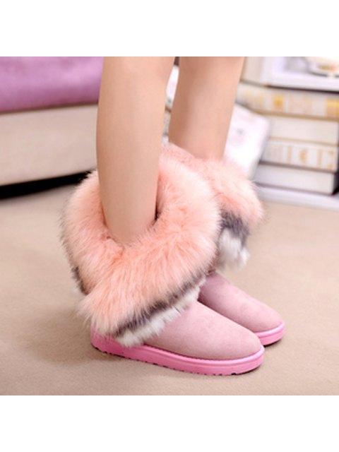 fancy Faux Fur Snow Boots - PINK 38 Mobile