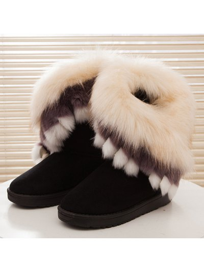 Faux Fur Snow Boots - BLACK 36 Mobile