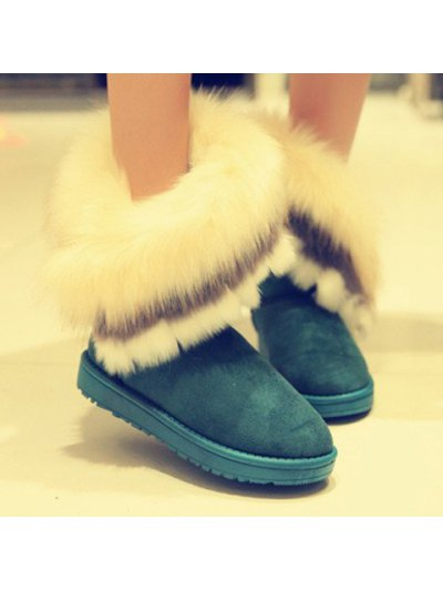Faux Fur Snow Boots - GREEN 37 Mobile
