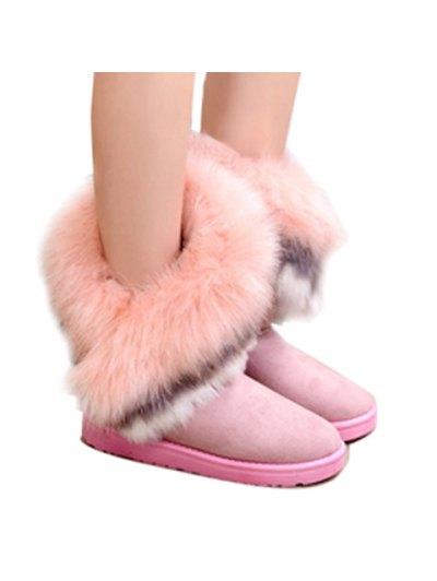 Faux Fur Snow Boots - PINK 36 Mobile