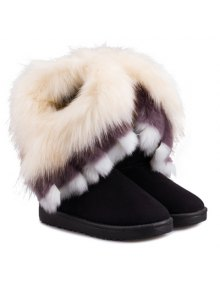 Faux Fur Snow Boots - Black
