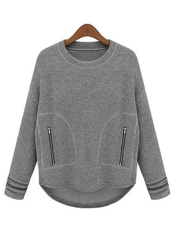 buy Simple Round Neck Gray Zippers Embellished Long Sleeve T-Shirt For Women - GRAY M
