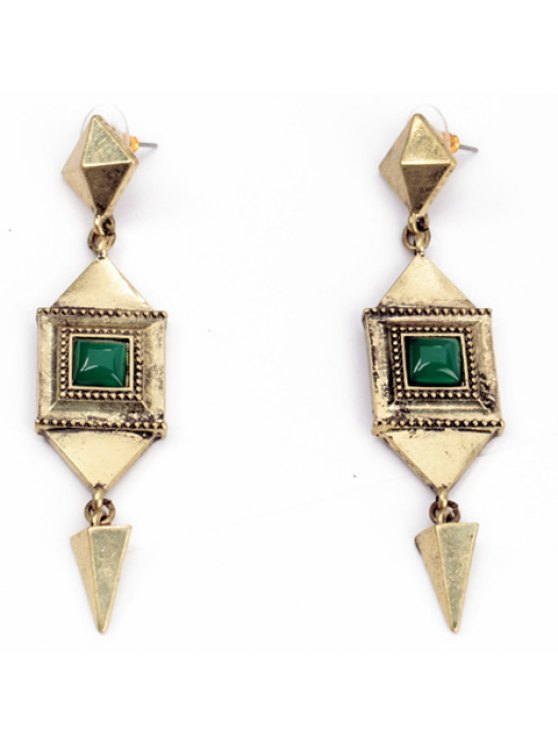 ladies Pair of Attractive Special Shape Pendant Women's Earrings - GOLDEN