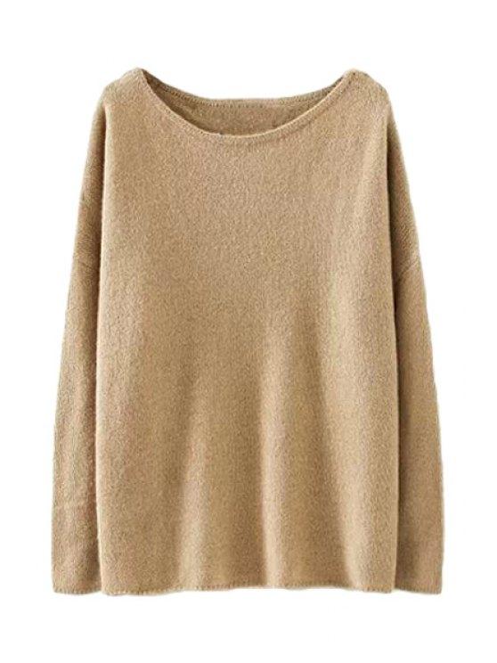 shops Solid Color Sweater For Women - KHAKI L