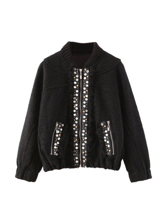 shops Rhinestone Embellished Long Sleeve Coat For Women - BLACK M