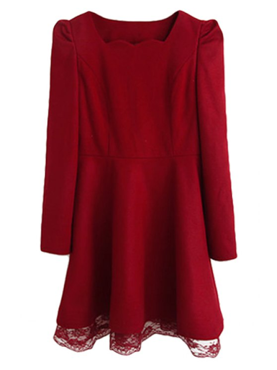 unique Solid Color Long Sleeve Dress For Women - AS THE PICTURE M